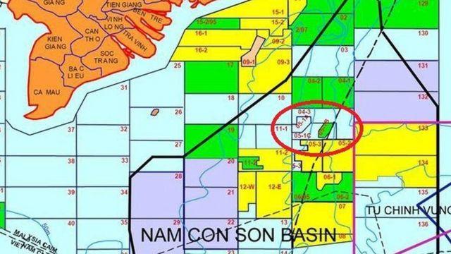 Bản đồ phân lô dầu khí của PVN cho thấy Lô 05-1b và 05-1c nằm ngoài đường 9 đoạn