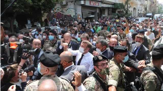 President Emmanuel Macron visits Beirut after the massive explosion there