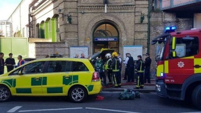 Quang cảnh trước ga Parsons Green, nơi xảy ra vụ nổ.