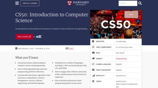 Reprodução do site de Harvard