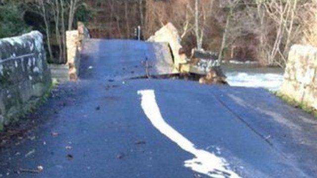 Pooley Bridge collapses in Cumbria floods