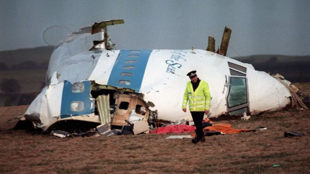 The Lockerbie bombing - part of the aircraft on the ground