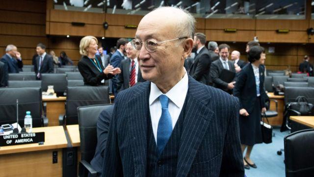 یوکیو آمانو، دبیر کل آژانس بینالمللی انرژی هستهای در جلسه روز جمعه