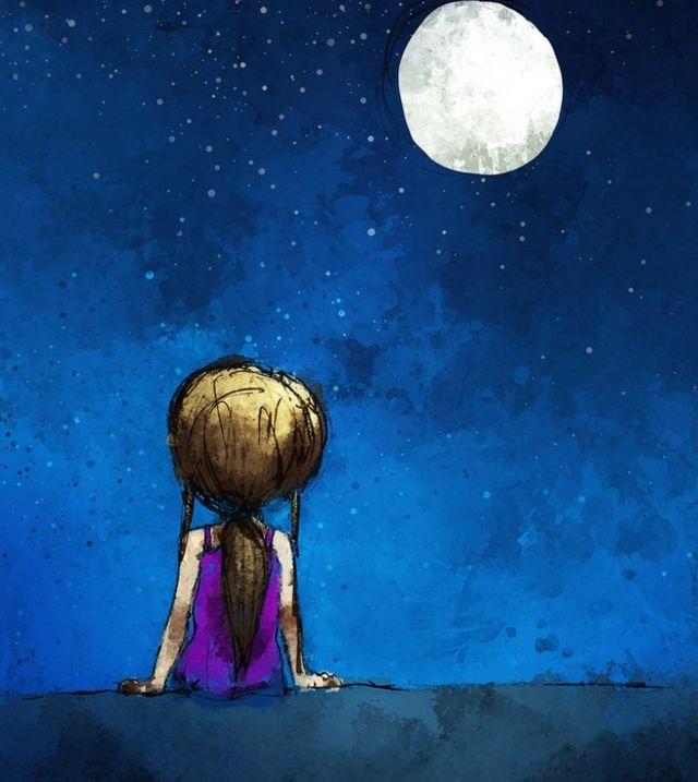 Criança olhando a Lua