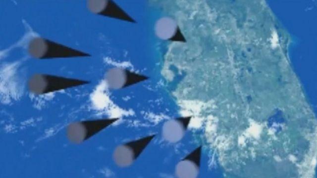 Cena de vídeo mostrado por Putin com cinco ogivas sendo lançadas