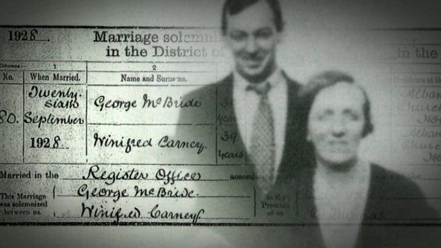 George McBride, a British soldier from Belfast's Shankill Road, married Winifred Carney who helped rebel leaders during the 1916 Easter Rising