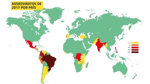 Mapa elaborado pela Global Witness mostra as regiões com mais mortes de ativistas no mundo - quando mais vermelha a cor, maior o número de casos; Brasil é o destaque