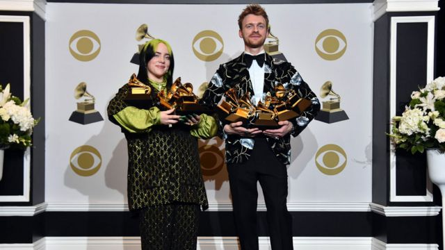 Billie Eilish and brother Finneas O'Connell show off their Grammy Award trophies