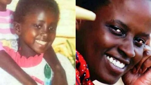 Grace Umutoni - à gauche quand elle était enfant et à droite comme elle est maintenant