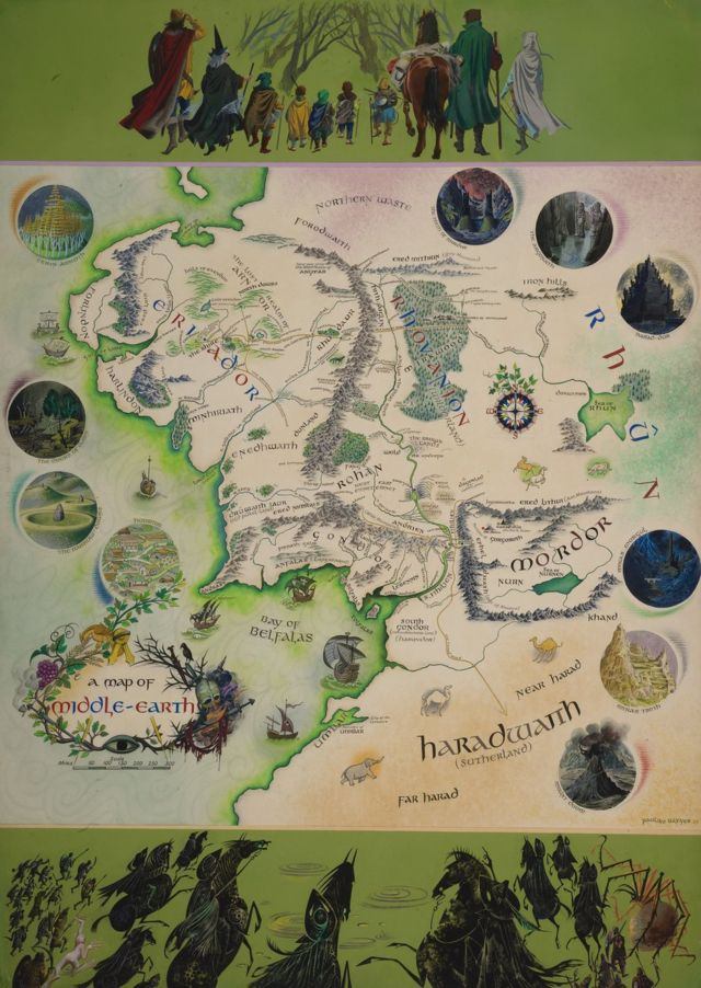 JRR Tolkien's annotated Middle-earth map on show at Bodleian