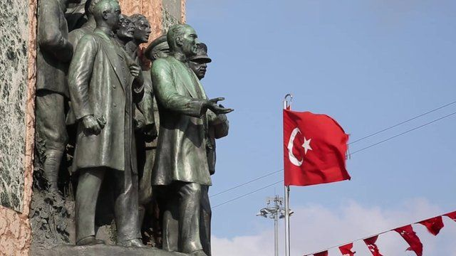 Russian generals in a monument at Taksim Square, Istanbul