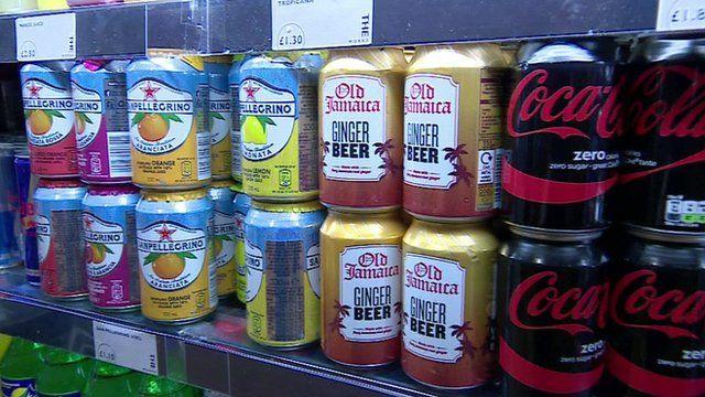 Sugary drinks on a shelf