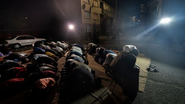 Worshippers during dhikr in Manenberg, Cape Town - South Africa