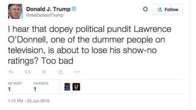 政治評論家のローレンス・オドネル氏を「まぬけ」「愚か者」と呼んだツイート