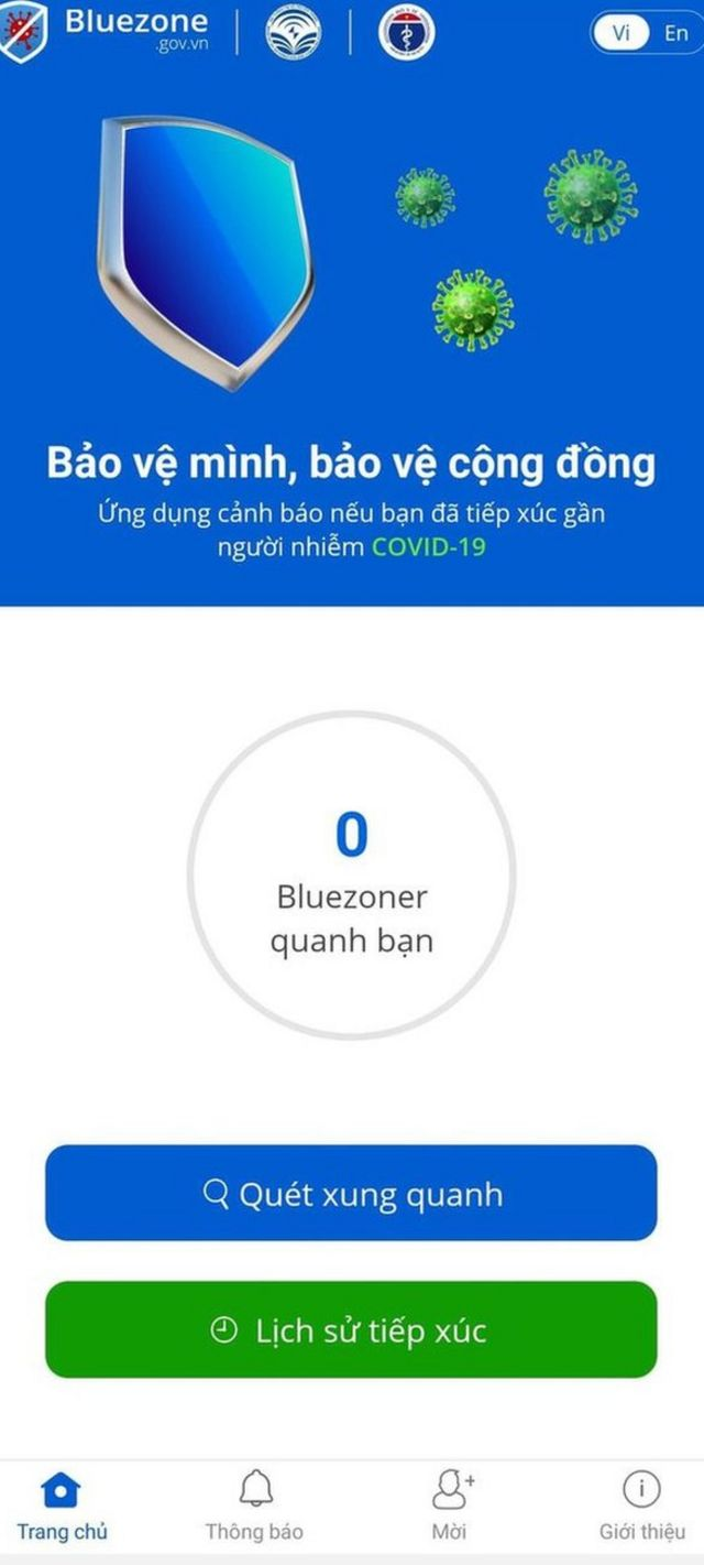 Ứng dụng Bluezone.
