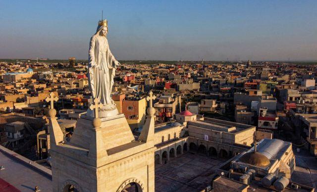 كنيسة الطاهرة الكبرى في مدينة قراقوش التي يزورها بابا الفاتيكان ضمن جولته