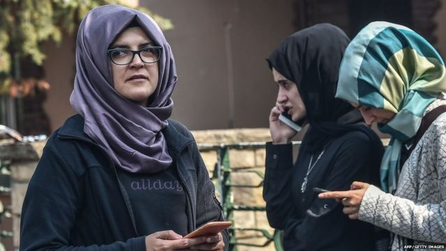 Jamal Khashoggi's fiancée Hatice waits in front of the Saudi consulate in Istanbul on 3 October 2018