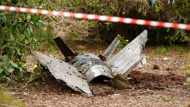 remains of a missile that crashed earlier in Alonei Abba, east of Haifa, in northern Israel.