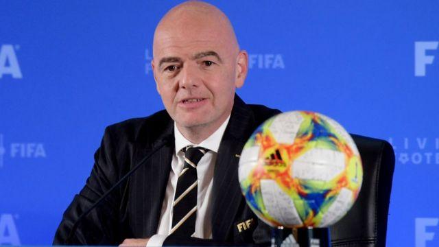 Gianni Infantino, président de la FIFA, lors d'une assemblée à Shangai (Chine), le 24 octobre 2019