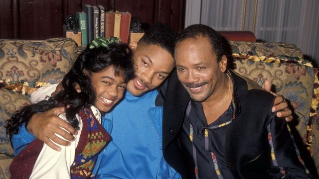 Will Smith and producer Quincy Jones with im niece character for di show, Tatyana Ali