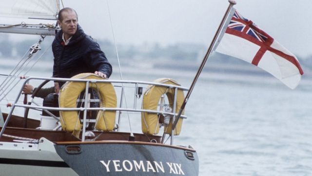 Prince Philip on a boat in 1977