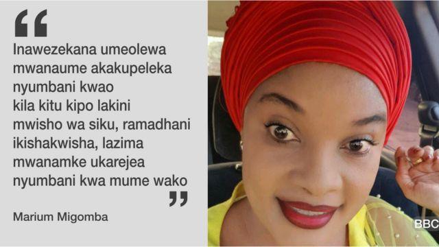 Marium Migomba ,mshehereshaji na anatoa mafunzo kwa mabinti kabla ya kuolewa