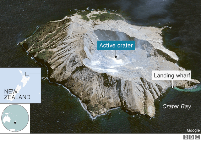 An image of the island, its crater and landing wharf