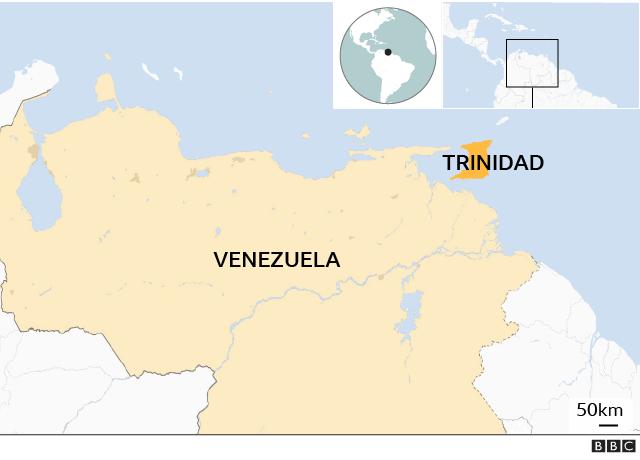 Mapa de Venezuela y Trinidad.