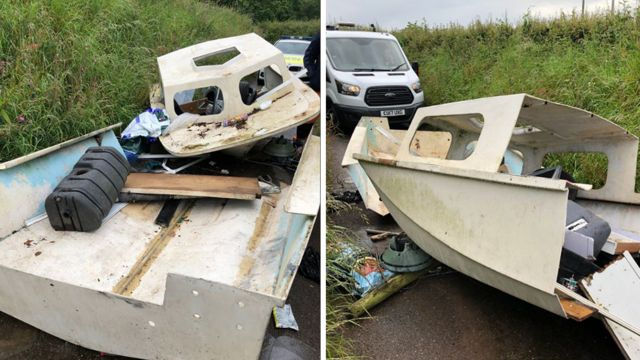 Fly-tippers dump damaged boat in Pembrokeshire lane