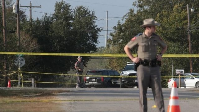 Police at the scene of the mass shooting in Sutherland Springs, Texas. Photo: 6 November 2017