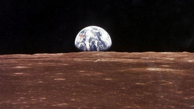 Ay misyonundaki Apollo 11'den alınan bir fotoğraf