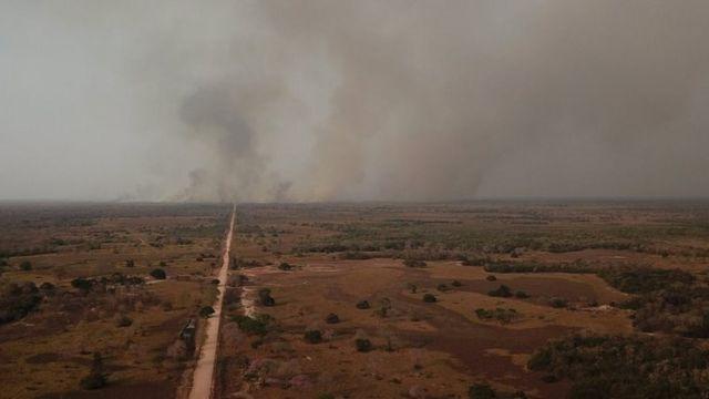 Incêndio no Pantanal em foto de 2020;