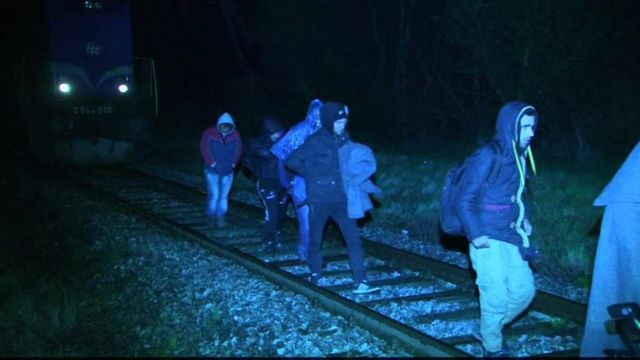 Migrants arriving on a train in Croatia, near the Slovenian border