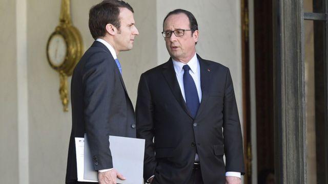 فرانسوا اولاند و امانوئل مکرون