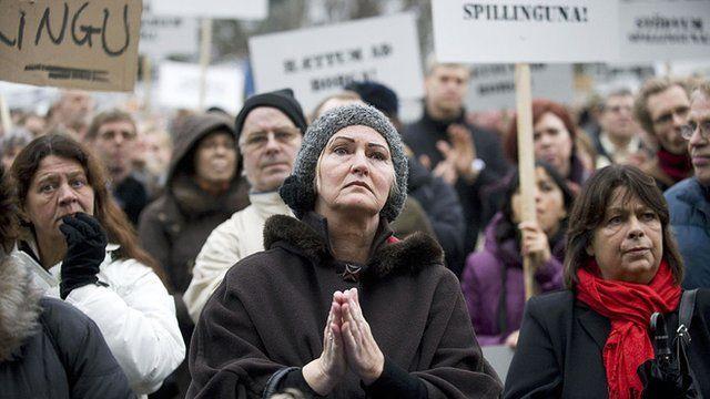 Protesto na Islândia