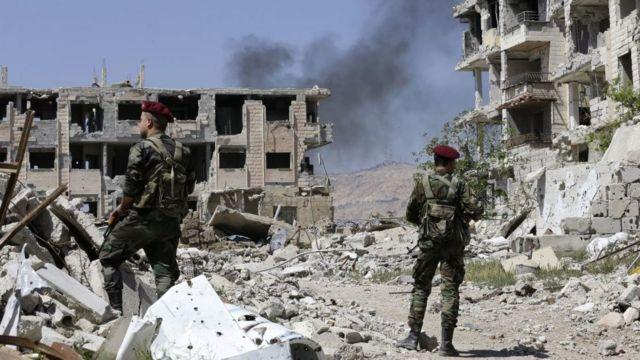 Des soldats pro gouvernementaux ratissent Jobar à l'est du Ghouta (illustration).