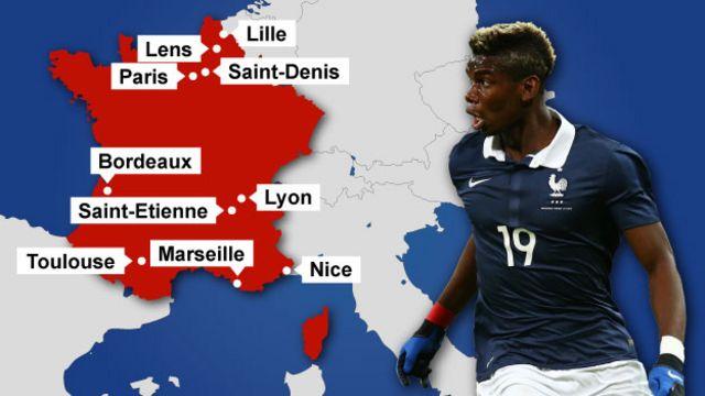 欧州選手権はフランス各地にある10の競技場で開かれる