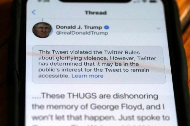 Un tuit de Trump con una advertencia