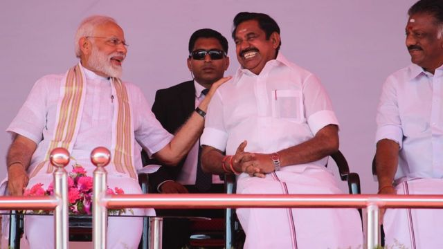 Modi onstage with EPS and OPS