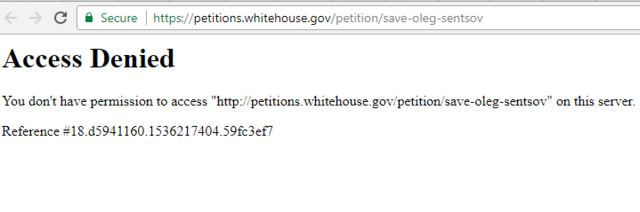 Скріншот з сайту петицій Білого дому при заході з України