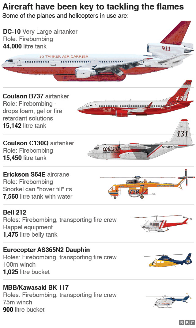 Infographic showing the aircraft in use in the firefighting operation