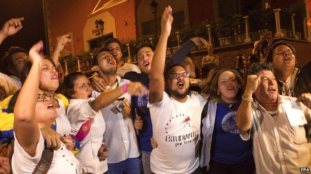 Opposition supporters celebrate in Caracas, Venezuela