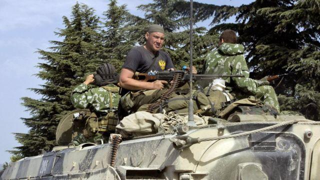 Российские солдаты во время наступления в Грузии