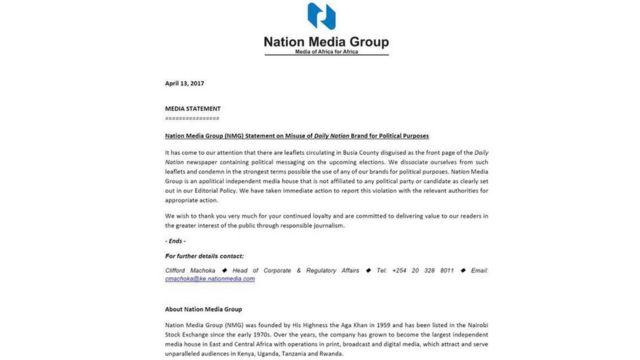 Taarifa ya Nation Media Group kwa vyombo vya Habari