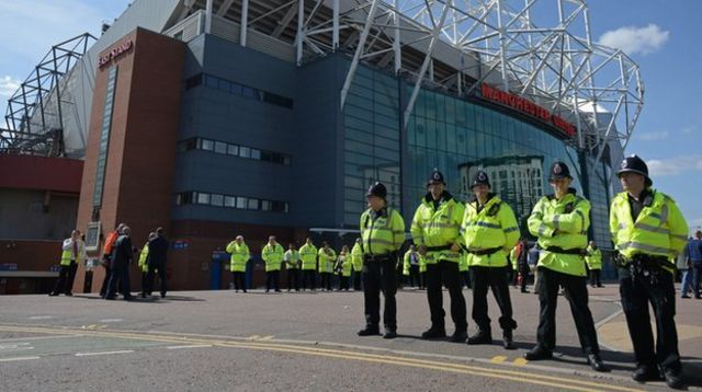 Police outside the Old Trafford stadium