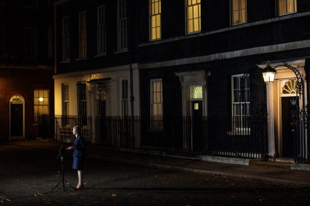 Theresa May delivers a speech outside Downing Street