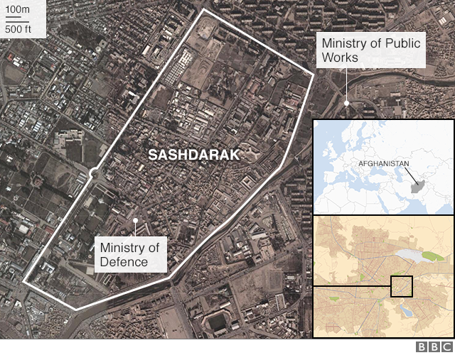 A map showing the Sashdarak district and the locations of the Ministry of Defence within it. Just outside the boundary is the ministry of public works.