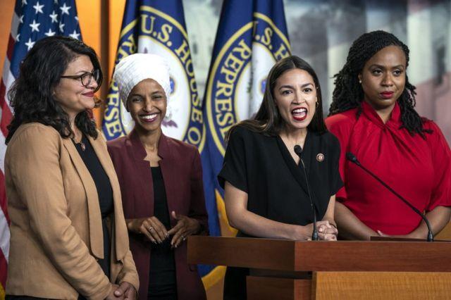 Четыре молодые демократки в Конгресе США: Рашида Тлаиб, Ильхан Омар, Александрия Окасио-Кортес и Айанна Прессли.