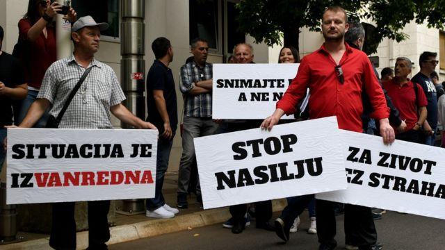 Protest novinara u Podgorici, 9. maj 2018.