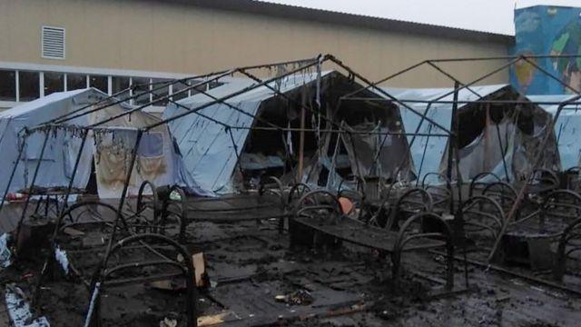сгоревший лагерь